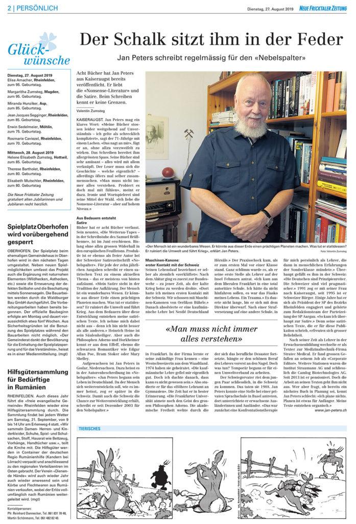 Neue Fricktaler Zeitung: Der Schalk sitz ihm in der Feder. Interview mit Jan Peters